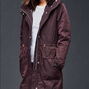 Gap Three-in-One Parka Jacket In Eggplant M